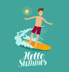 Hello summer banner surfer and wave surfing vector