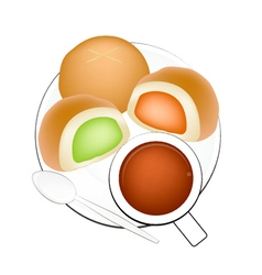 Hot Coffee with Bun Bread Filled with Cream vector