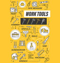 House repair tools hammer screwdriver pliers vector