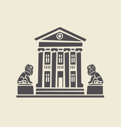 icon of two-storey old building with statues lions vector image