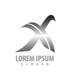 initial letter x metallic silver concept design vector image