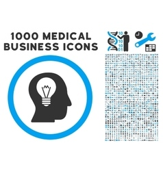 Intellect Bulb Icon with 1000 Medical Business vector