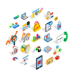 It engineering icons set isometric style vector