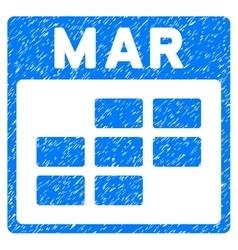 March Calendar Grid Grainy Texture Icon vector