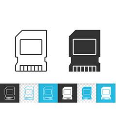memory card simple black line icon vector image