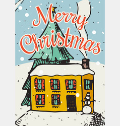 merry christmas banner new year sticky label vector image
