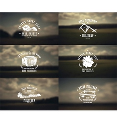 Military emblems and blurred background vector image