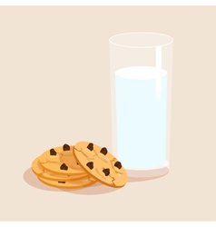 Milk and cookies decorative set vector image