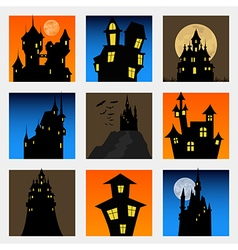 Misterious house in the dark night Halloween vector