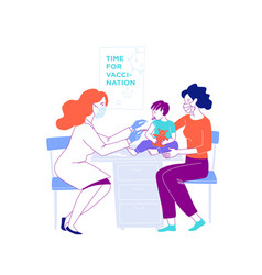 mother with a child at doctor time for vector image