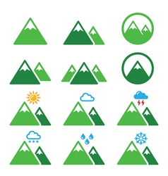 Mountain green icons set vector image