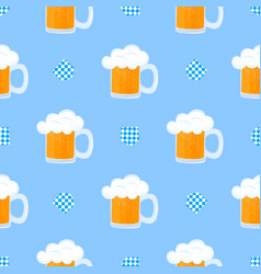 mug beer with foam and decorative flag vector image
