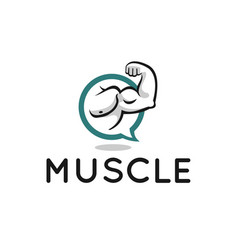muscle logo design for fitness forum or blog vector image