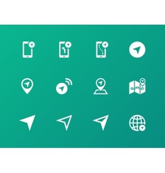 Navigator icons on green background vector image