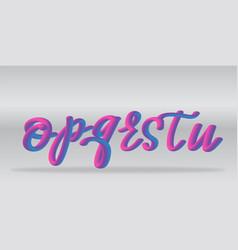 neon gradient alphabet realistic letters o-u vector image