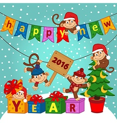 new year 2016 with monkeys vector image