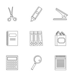 office stuff icon set outline style vector image vector image