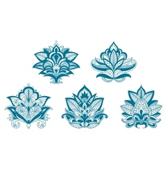 Outlined paisley lace blue flowers vector