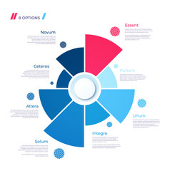 Pie chart concept with 8 parts template vector