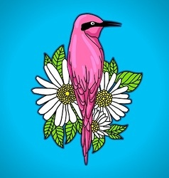 Pink bird among white flowers vector
