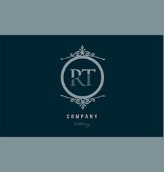 rt r t blue decorative monogram alphabet letter vector image