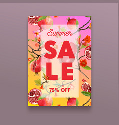 sale poster with pomegranate fruits flowers and vector image