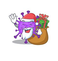 Santa bovine coronavirus cartoon with box gift vector