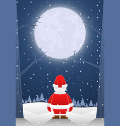 santa claus standing alone on christmas night vector image