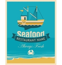 seafood store with fishing boats vector image