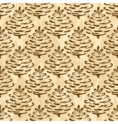 Seamless cones of coniferous tree vector