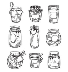 set od hand drawn mason jars with jam vector image
