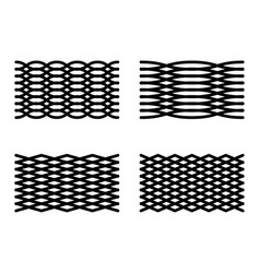 Set of 4 abstract grid elements curved lines mesh vector
