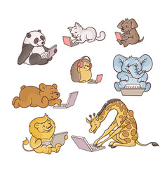 Set of cute child animals with vector