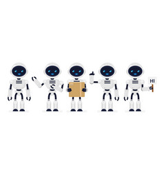 set of cute robots white color vector image