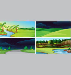 set of nature background vector image