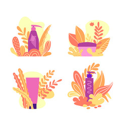 Set of organic cosmetics vector
