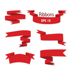 set of red ribbon banners set isolated on white vector image