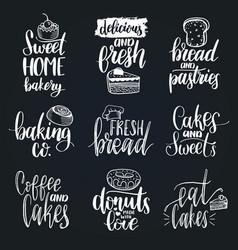 Set of vintage bakery hand lettering vector
