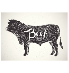 Silhouette bull beef vector