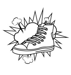 Sneaker and cloud black and white vector