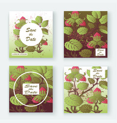 Strawberry pattern design templates product hand vector