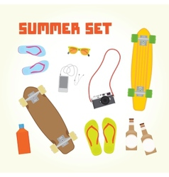 Summer objects set vector