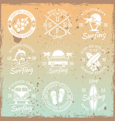 Surfing light emblems on bright background vector