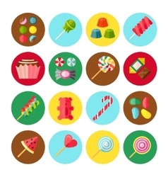 Sweet Candy Flat Isolated Icon Set vector