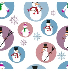 Template of snowmen on blue and purple background vector