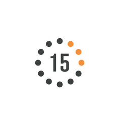Timer sign 15 min on white background countdown vector