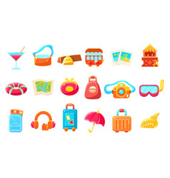 travel related objects colorful simplified icons vector image