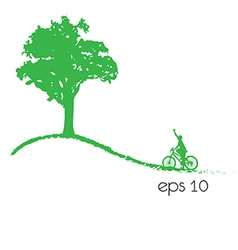 tree an bicycle over white background vector image