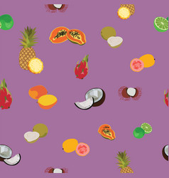 tropic exotic fruits purple seamless pattern vector image