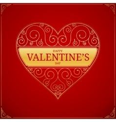 Valentines Day heart Golden love or wedding sign vector image